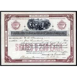 North Carolina - Carolina Queen Consolidated Mining Co. Stock Certificate.