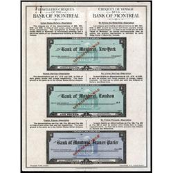- Bank of Montreal, New York, London and Paris, Traveler's Check Specimen Sheet.