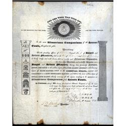 Indiana - Masonic Membership Certificate From Richmond, Indiana.