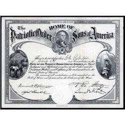Pennsylvania - Home of the Patriotic Order  - Sons of America Contribution Certificate.