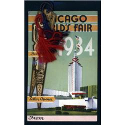 Illinois - Chicago World's Fair, 1934 Brass Book Mark and Letter Opener with Engravings Souvenirs.