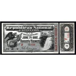 Minnesota - Republican National Convention, Minneapolis, 1892 Guest's Ticket.