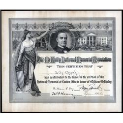 Ohio - McKinley National Memorial Association Contribution Certificate.