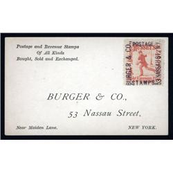 New York - Burger & Co., Nassau Street Stamp Dealer Business Card.