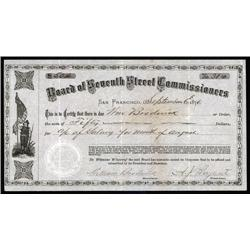 California - Board of Seventh Street Commissioners, 1876 Warrant.