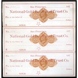 California - National Gold Bank and Trust Uncut Sheet of 3 Revenue Imprinted Checks.