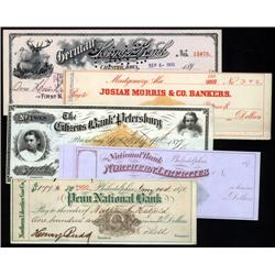 Miscellaneous - Imprinted Revenue Check Assortment, Lot of 62 Revenue Imprinted Checks.