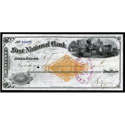 Montana - First National Bank, Deer Lodge, 1879 Draft with RN-G1 on ABN Printed Check.
