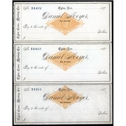 Nevada - Tybo Consolidated Mining Co. Uncut Sheet of 3 RN-G1 Imprinted Revenue Checks.