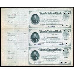 New York - Lincoln National Bank of the City of NY Uncut Sheet of 3 Specimen checks.