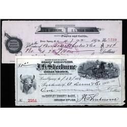 Oklahoma Territory - J.H.Shelburne - U.S. Indian Trader, Dealer in Ponies & Cattle Lot of 2 Checks.