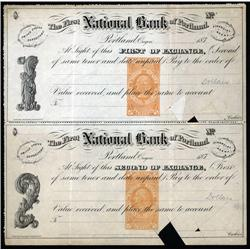 Oregon - First National Bank of Portland, Uncut Bill of Exchange Pair With Unused RN-E4.