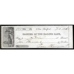 U.S. - Cashier of the Marine Bank Check with Whaling Vignette.