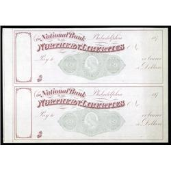U.S. - National Bank of the Northern Liberties, Uncut Pair with RN-K4.