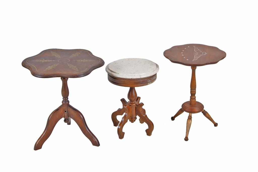 Collection Of Three Side Tables Including One Small Round Table With Marble Top And Two Antique Til
