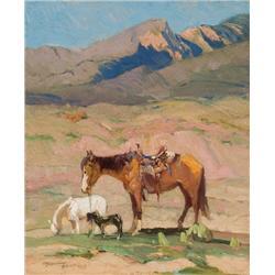 Berninghaus, Oscar - Horses Grazing in Taos Mountains, NM (1874-1952)