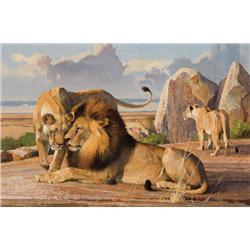 Kuhn, Bob - Lions Greeting Before a Hunt (1920-2007)