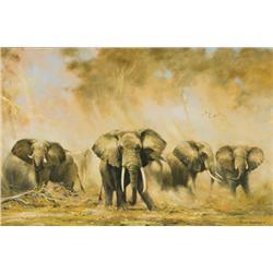 Shepherd, David - Elephants at Amboseli (b. 1931)