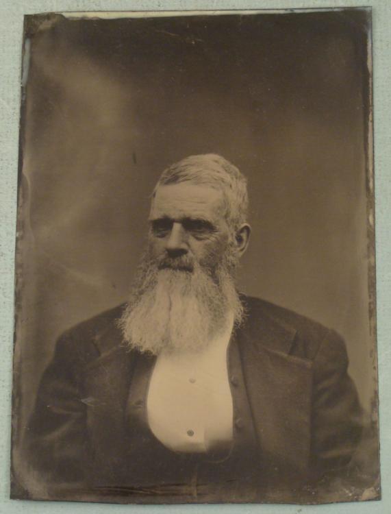 Big 5x7 Antique Tintype Photo Portrait Old Man w/Beard