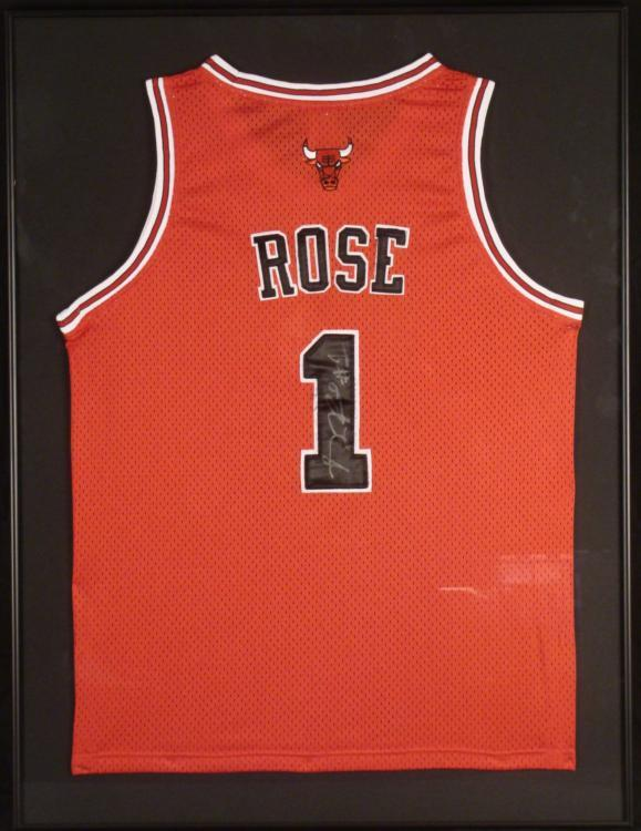 hot sales c92db 8ba98 Derrick Rose Signed Chicago Bulls Jersey Framed