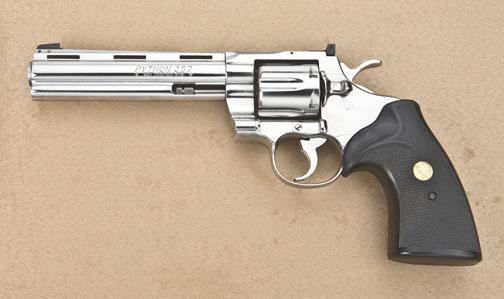"""Colt Python Model DA revolver,  357 Magnum cal , 6"""" ventilated rib barrel,  nickel finish, checkere"""