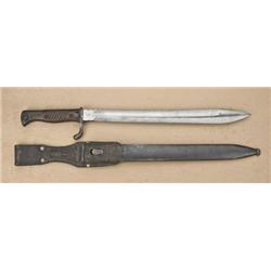 """German butcher-knife style bayonet with  saw-back edge for Mauser rifle by """"Durkopp  Werke AJ"""" well"""