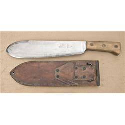 USMC marked bolo knife by Chatillon, New  York. With USMC marked 1945 scabbard by Boyt.  Blade very
