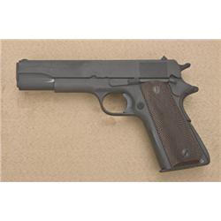 """Custom Model 1911-A1 semi-auto pistol, .45  cal., 5"""" barrel, re-parkerized finish,  checkered brown"""