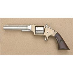 "E. A. Prescott  spur trigger revolver, .32  rimfire cal., 5"" octagon barrel, nickel  finish on cylin"