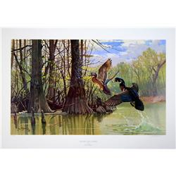 """Lot of 10 prints consisting of: A) """"Blind at  Walker's Pond"""" by R.J. McDonald. Image size  approx 26"""