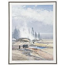 Michael Coleman hand-signed medallion edition  print showing bears in Yellowstone National  Park, nu