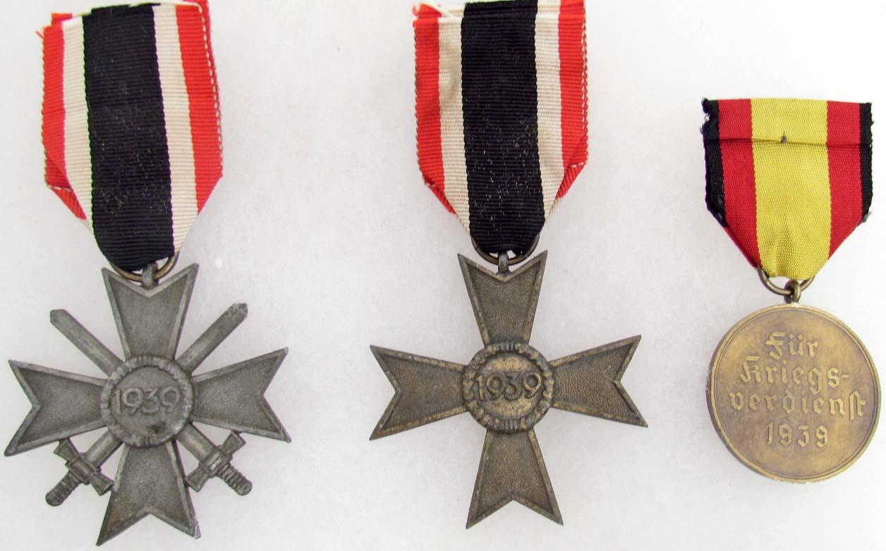 LOT OF 2 WW2 GERMAN NAZI 2ND CLASS WAR SERVICE CROSSES AND MEDALS W/ RIBBONS