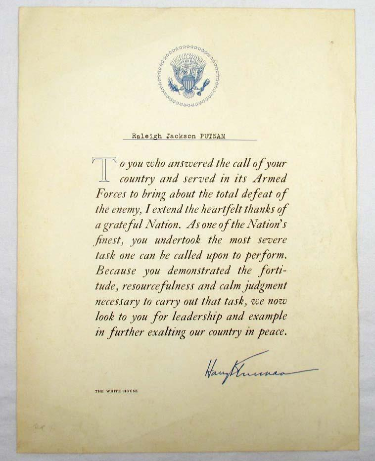 presidential letter given to soldiers at end of ww2   harry s. truman