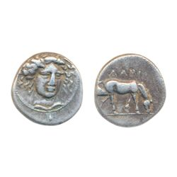 THESSALY, LARISSA. C. 350 BC. Silver Drachm (5.90 g). Obv: Head of the nymph Larissa three-quarter f