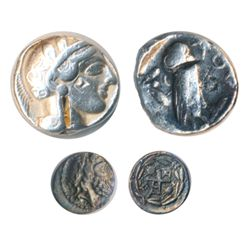 TWO POPULAR GREEK SILVER ISSUES: Tetradrachm of ATHENS, c. 430 BC (obv: Athena: rev: Owl; chisel cut