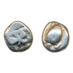 AIGINA. C. 485-480 BC. Silver Stater (12.10 g) Obv: Turtle. Rev: Divided incuse square. Cf. Asyut 54