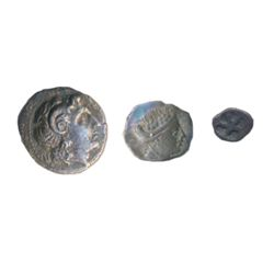 A TRIO OF GREEK ISSUES of AIGINA. (Silver hemiobol; Good/Fine), HISTIAIA (silver diobol; Fine-VF) an