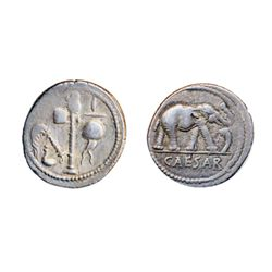 JULIUS CAESAR, d. 44 BC. Silver Denarius struck at a mint moving with Caesar, 49-48 BC. Obv: Elephan