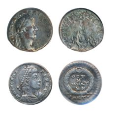 Two silver coins of ancient Rome. Drachm of Caesarea in Cappadocia minted under TIBERIUS (rev: male