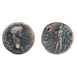 CLAUDIUS, AD 41-54. AE (copper alloy) Sestertius minted at Rome, c. AD 41-50. Obv: Laureate head rig