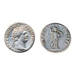 DOMITIAN, AD 81-96. Silver Denarius minted at Rome, AD 90. Obv: Laureate head right of Domitian. Rev
