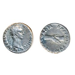 NERVA. AD 96-98. Silver Denarius minted at Rome, AD 96. Obv: Laureate head right of Nerva. Rev: Clas