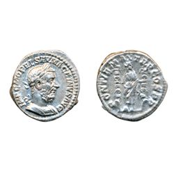 MACRINUS, AD 217-218. Silver Denarius minted at Rome, April to December AD 217. Obv: Laureate and cu