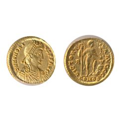 HONORIUS. AD 393-427. Gold Solidus (4.39 g.) Ravenna. Obv: Bust, right. RIC-1323. Good Very Fine.