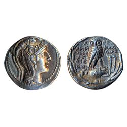 ATHENS. AR Tetradrachm. New Style. C.185-175 BC. (16.6 g). Extra Fine. Ex. Galerie des Monnaies of G