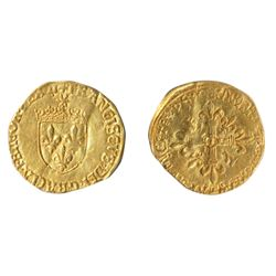 FRANCE. Ecu d'Or. Francis I. No Date. (1515-1547). Fried-345. (93). Obv: Crowned arms, small radiate