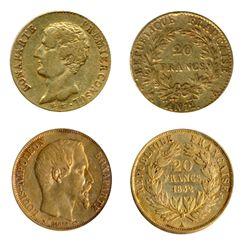 FRANCE. 20 Francs. AN.12A. (1804). KM#651. Bonaparte Premier Consul. Fine; 20 Francs. 1852A. KM#774.