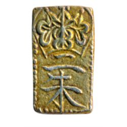 JAPAN. 2 Shu (Nishu Gin). Gold/silver. 1832-1858. (1.6 gms.). 8 x 14mm. VF.
