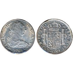 MEXICO. 8 Reales. Charles III. 1785. F.M. KM#106.2. Lustrous Extra Fine; 8 Reales. Charles IIII. KM#