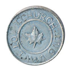 T. Church Token. Bow. 1-23. White metal. Plain edge. Thick. 8.0 gms. UNC.